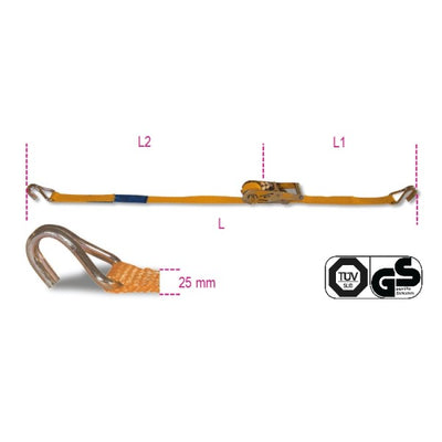 Beta 8180 Ratchet tie down with single hook, LC 750kg