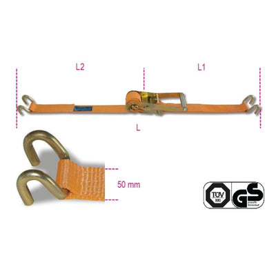 Beta 8182S Ratchet tie down with double hook, LC 2000kg