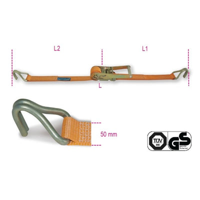 Beta 8182T Ratchet tie down with double hook, LC 1500kg