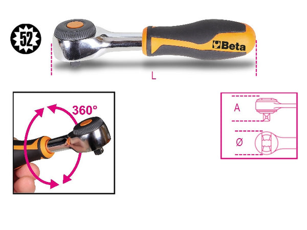 "900/58 - 1/4""dr reversible ratchet with rotating handle  Beta"