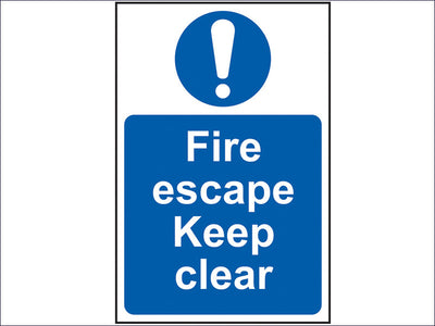 Fire Escape Keep Clear - PVC 200 x 300mm SCA0158