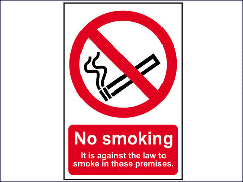 SCA0567 No Smoking It Is Against The Law To Smoke In These Premises - PVC 200 x 300mm