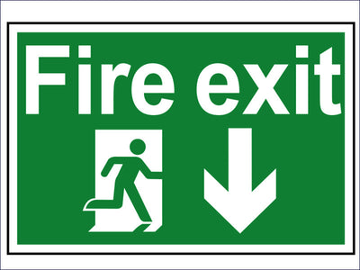 SCA1503 Fire Exit Running Man Arrow Down - PVC 300 x 200mm