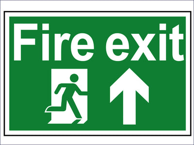 Fire Exit Running Man Arrow Up - PVC 300 x 200mm SCA1505
