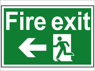 Fire Exit Running Man Arrow Left - PVC 300 x 200mm SCA1506