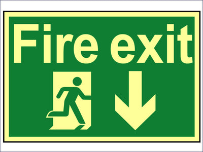 Fire Exit Running Man Arrow Down - Photoluminescent 300 x 200mm SCA1580