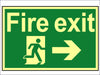 Fire Exit Running Man Arrow Right - Photoluminescent 300 x 200mm SCA1581