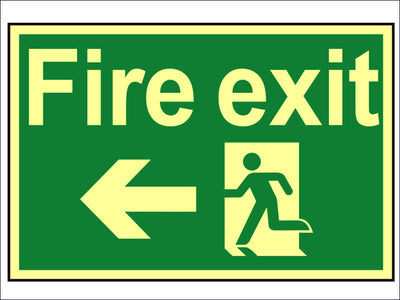 Fire Exit Running Man Arrow Left - Photoluminescent 300 x 200mm SCA1583