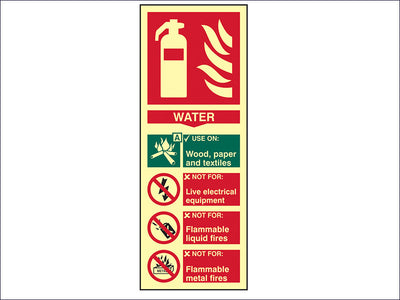 SCA1590 Fire Extinguisher Composite Water - Photoluminescent 75 x 200mm