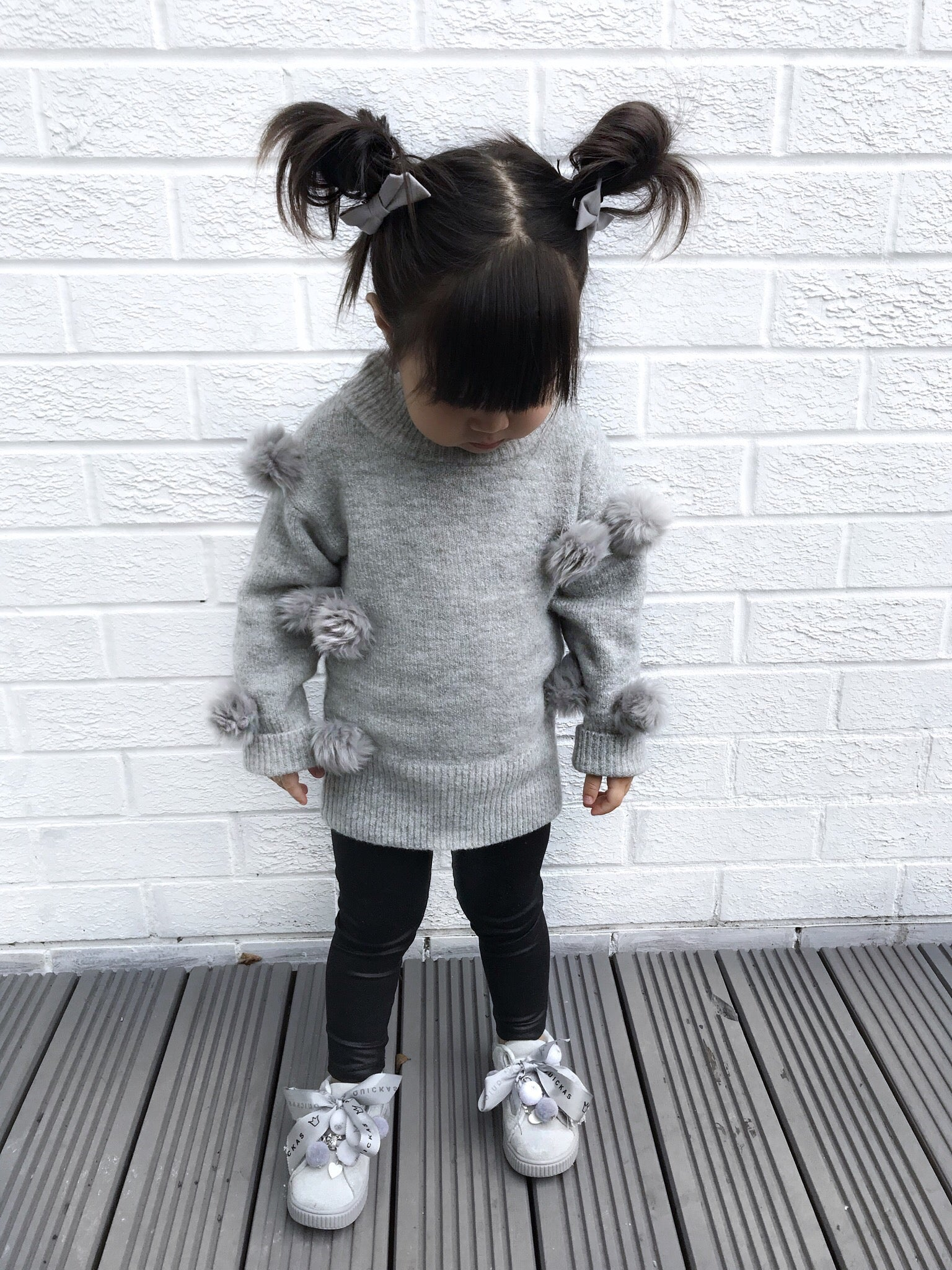 Grey pom pom jumper - CHILD