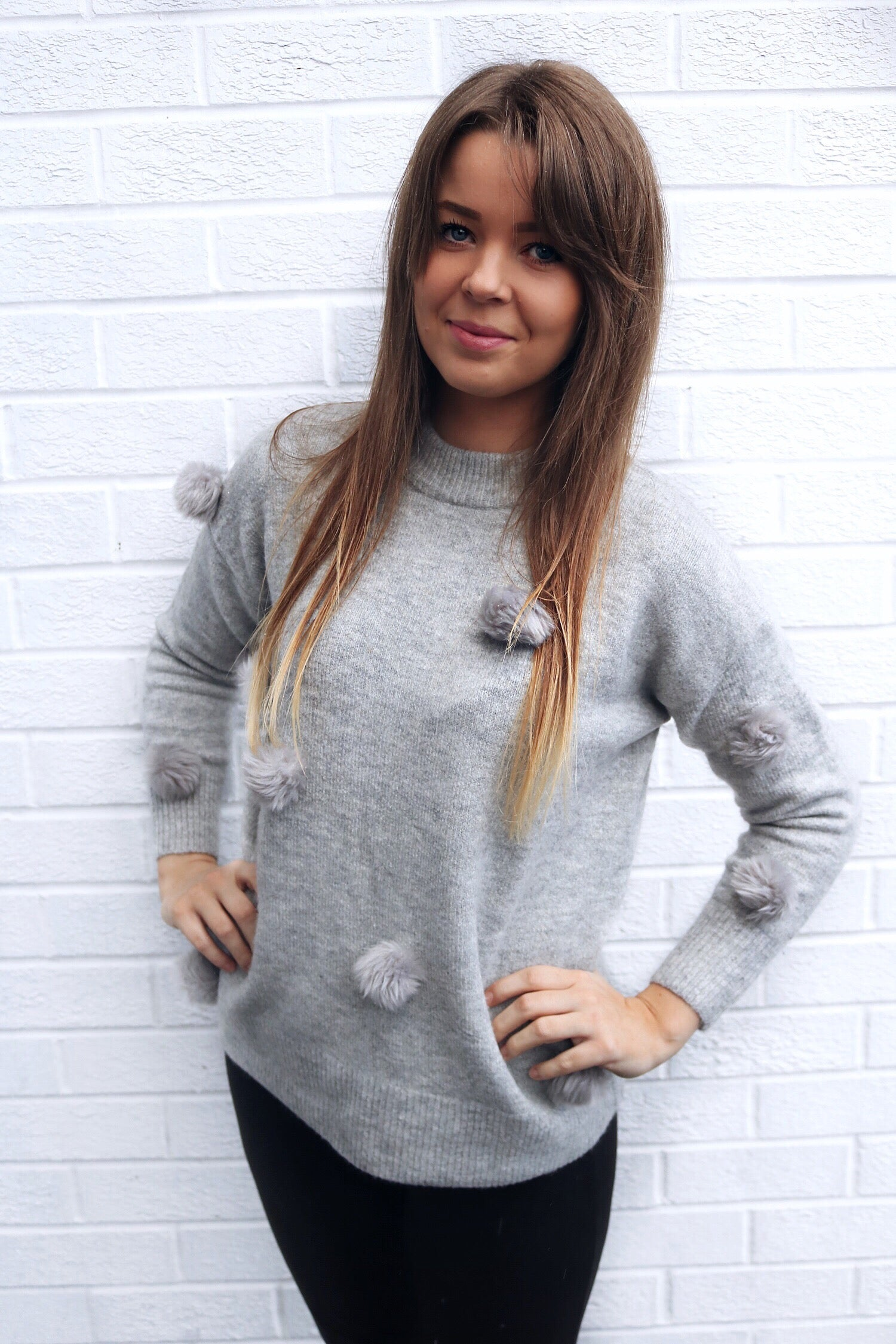 Grey pom pom jumper - ADULT
