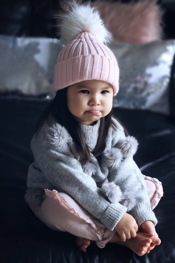 Pink bobble hat (white Pom Pom) - CHILD