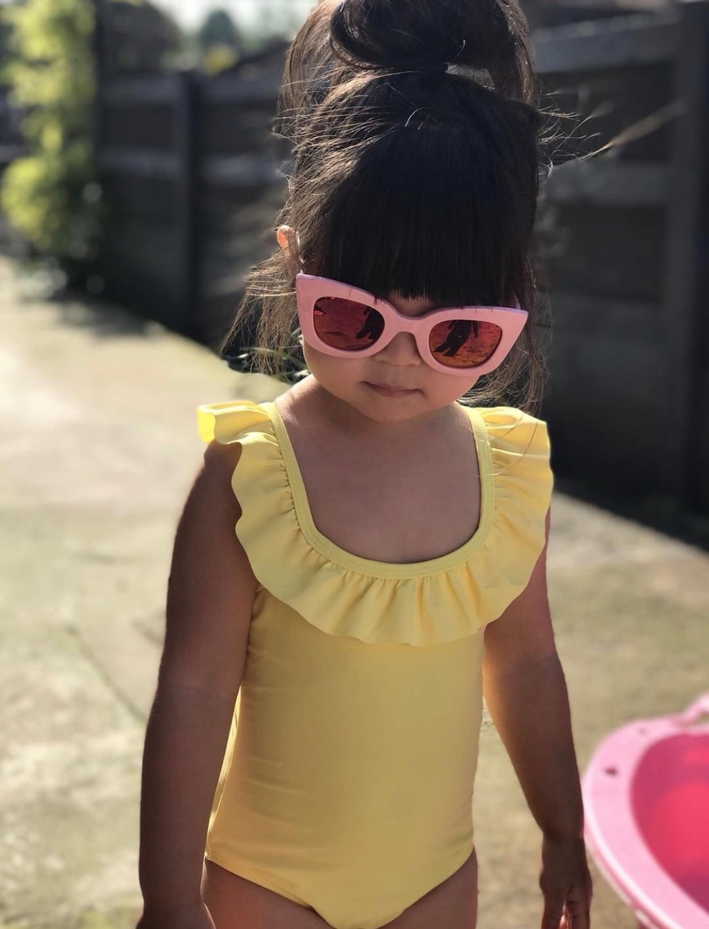 Yellow frilled swimsuit - CHILD