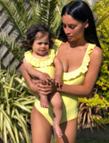 Yellow frilled swimsuit - ADULT