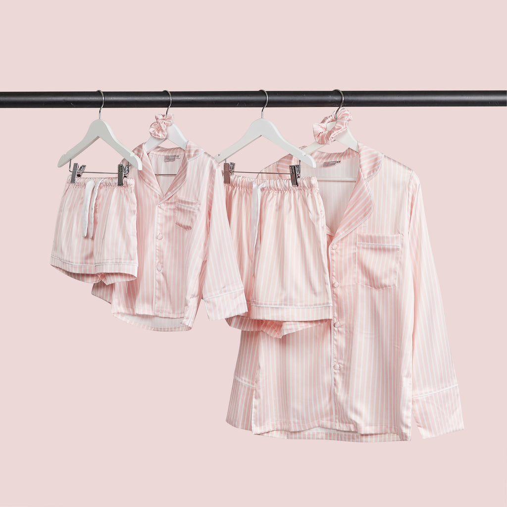 BABY PINK & WHITE stripe satin pyjamas - CHILD