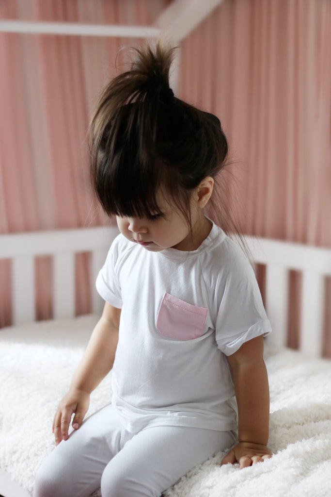 White T-shirt pink pocket - CHILD