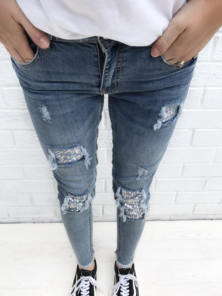 Sequin patch jeans - ADULT