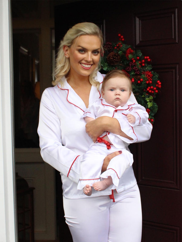 WHITE & RED satin pyjamas - GIRL