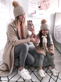 Beige bobble hat (single)- ADULT