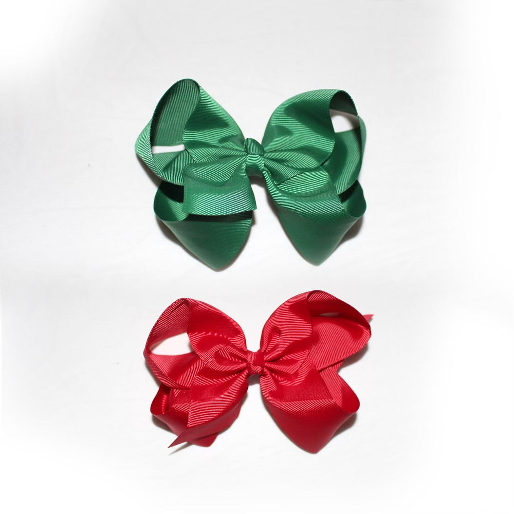 Green & Red Christmas bow - CHILD