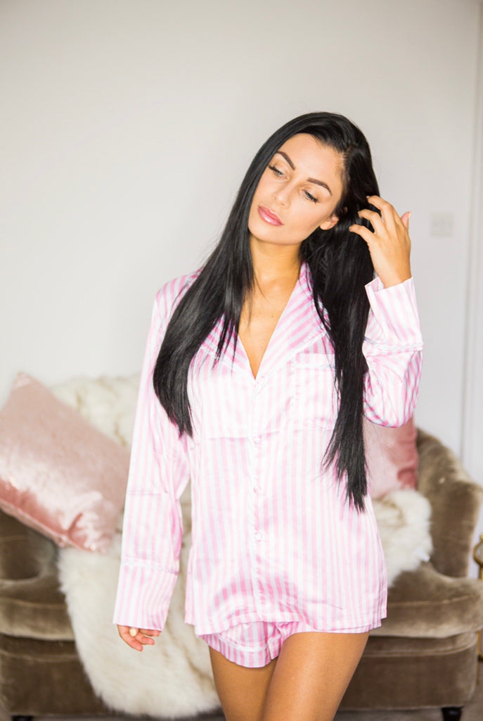 Pink satin striped pyjamas (with shorts) - ADULT