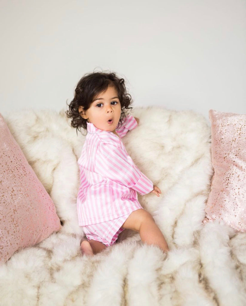 Pink satin striped pyjamas (with shorts) - CHILD