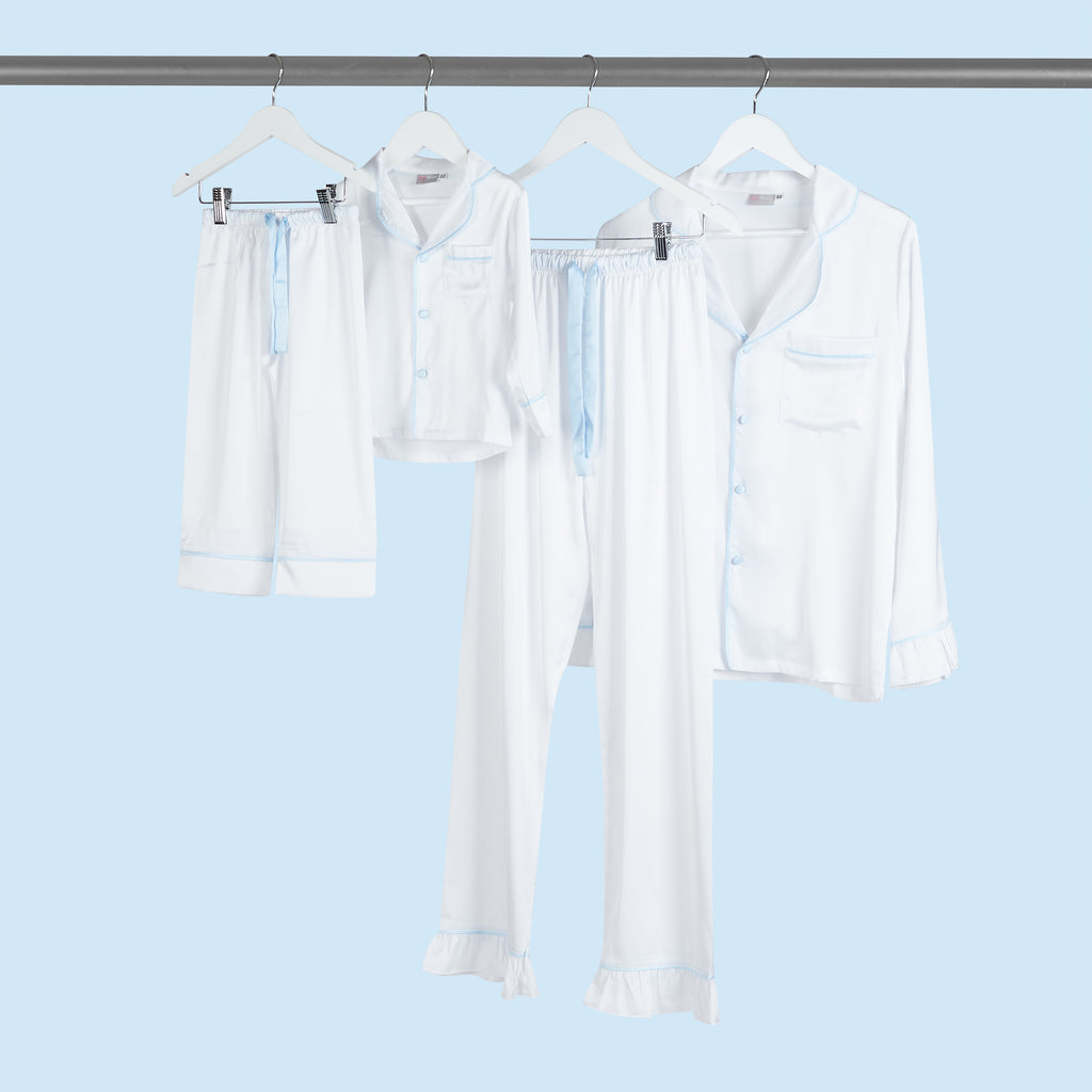 WHITE & BLUE satin pyjamas - UNISEX