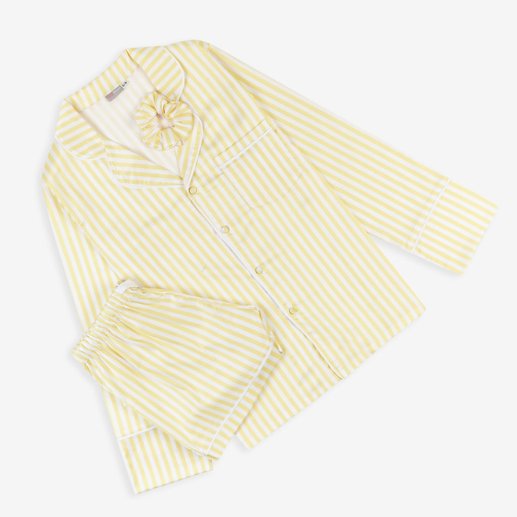 YELLOW & WHITE stripe satin pyjamas - ADULT