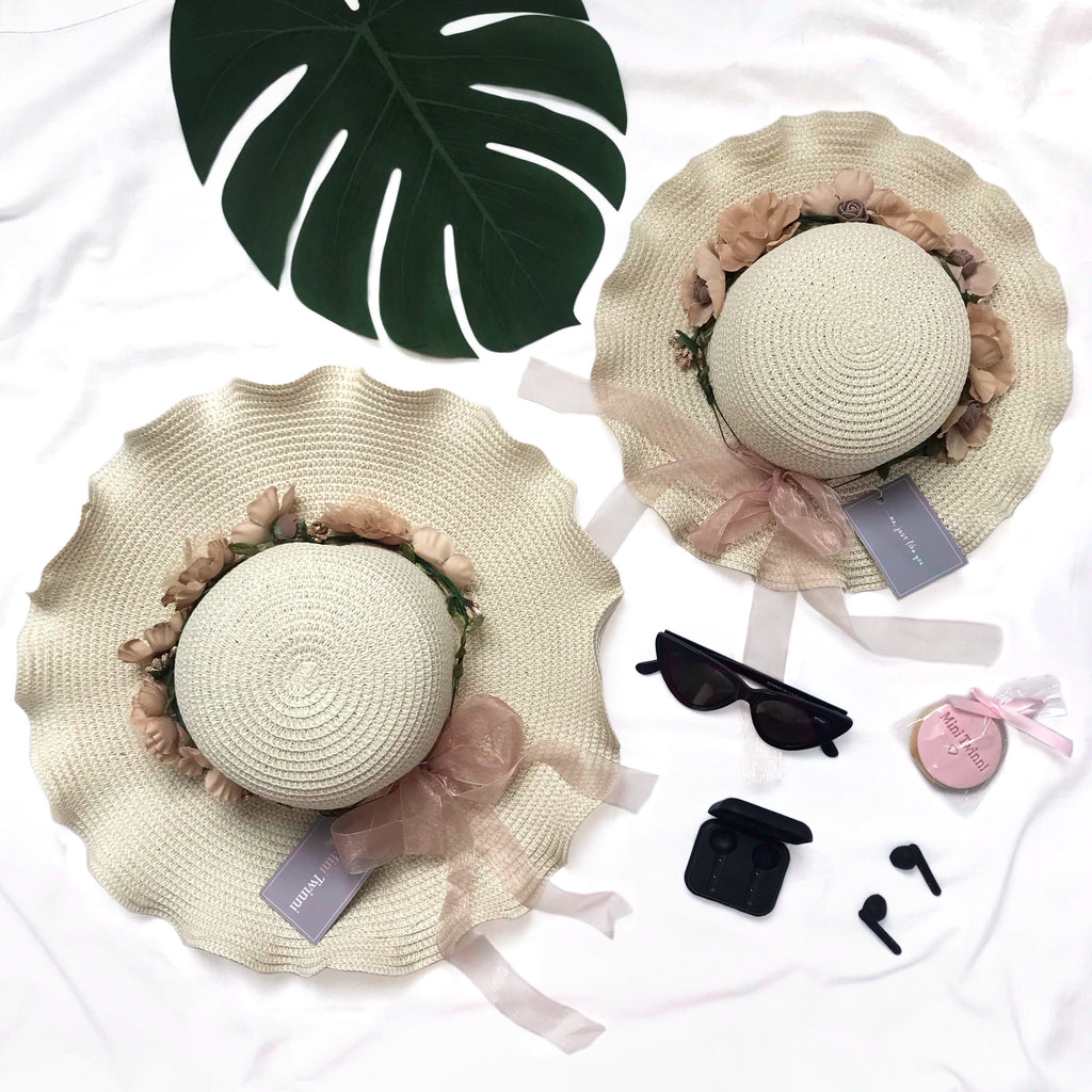 Cream floral sun hats - CHILD & ADULT