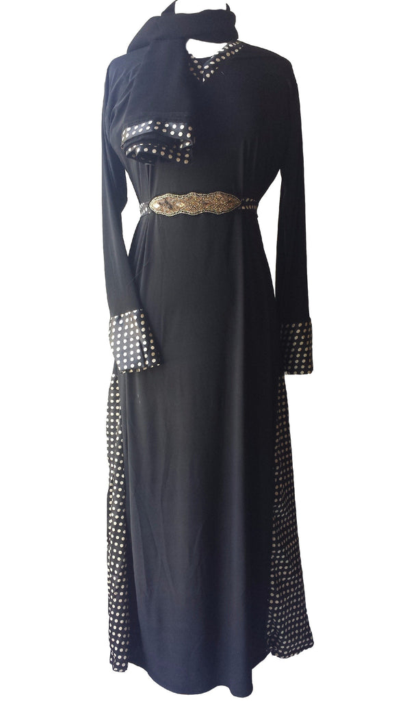 Rabiya Lycra Stretchable Abaya with Belts and Panels - Arabic dresses