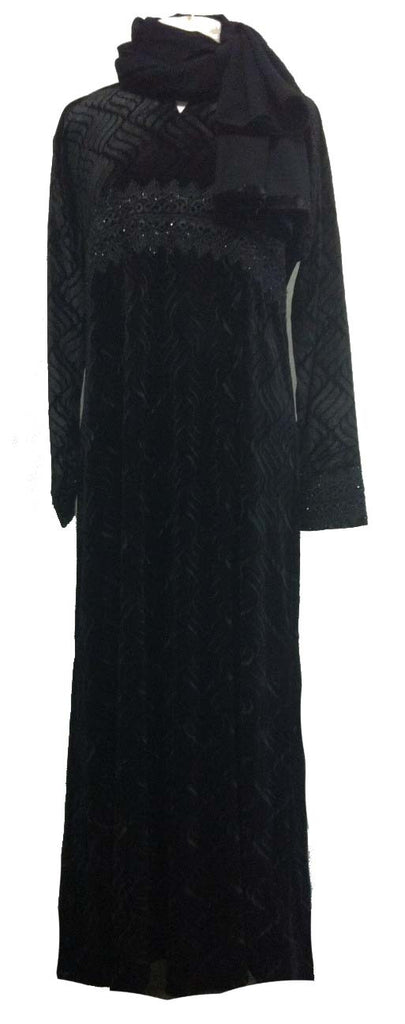 Sameera Black Velvet Abaya - Middle Eastern clothing