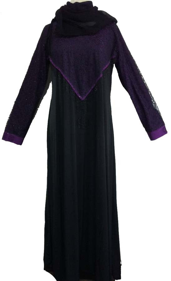 Shaista Lycra Abaya with Umbrella Flare Net Design - Arabic clothing