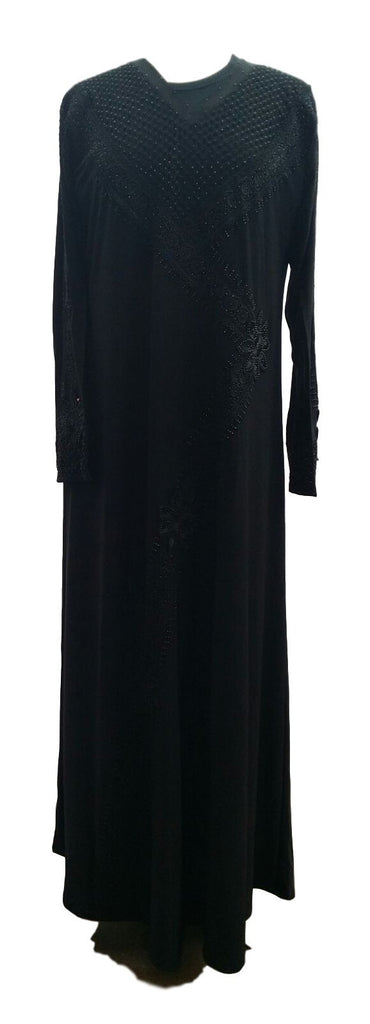 Henna Black Abaya with Beads and Borders - Middle Eastern Clothing