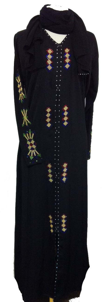 Fancy Saudi Arabian Abaya with Golden/Colored beads - Muslim Clothing