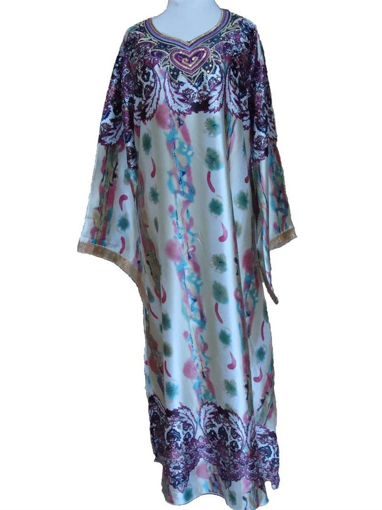 Printed Heart Satin-feel Light weight Kaftan dress - Muslim Clothing