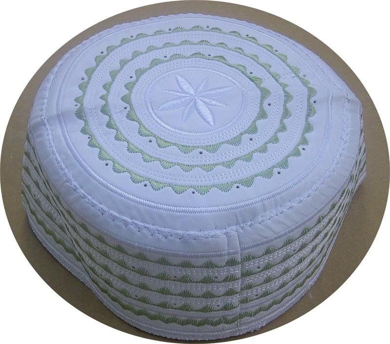 Men's Green White Cap - Arabic clothing