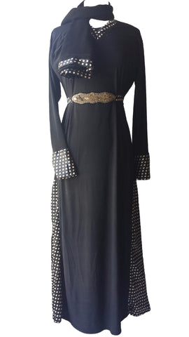 lycra stretchable abaya with belts and panels