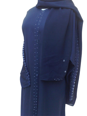 sharjah abaya with beaded sleeves