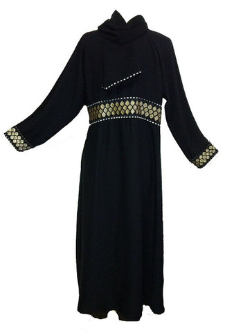 Dubai Abaya with Brocade Bordered Waist for muslimah