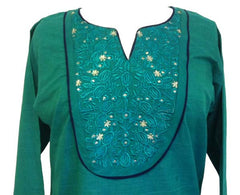 Fancy Embroidered Cotton Tunic top with Long sleeves - Arabic Islamic Shopping Store - 2