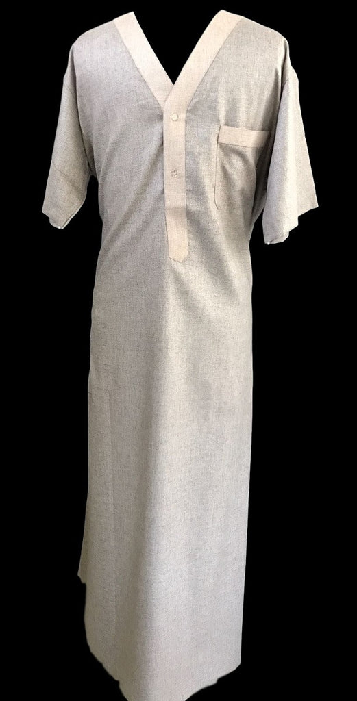 Fancy V-Neck Saudi Thobe for Men
