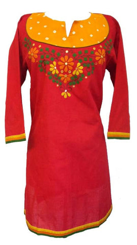 Appliqued Cotton Tunic top with Long sleeves - Arabic Islamic Shopping Store - 1