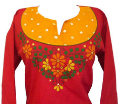 Appliqued Cotton Tunic top with Long sleeves - Arabic Islamic Shopping Store - 2