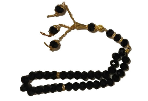 Black Tasbeeh with Golden Danglers - 33 Beads - Arabic Islamic Shopping Store
