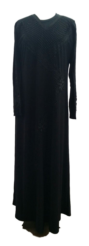 Henna Black Abaya with Beads and Borders - Arabic Islamic Shopping Store - 1