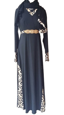 Rabiya Lycra Stretchable Abaya with Belts and Panels - Arabic Islamic Shopping Store - 1