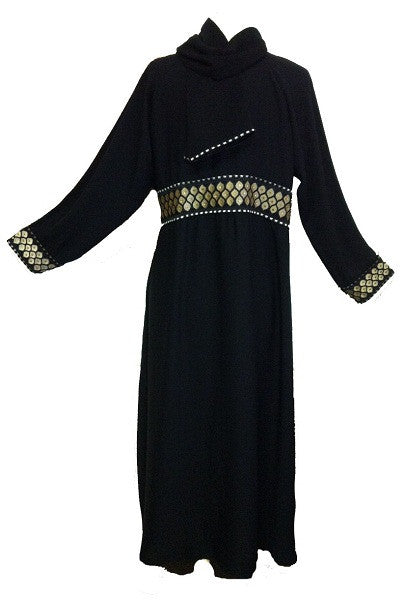 Elegant Dubai Abaya with Brocade Bordered Waist - Arabic Islamic Shopping Store