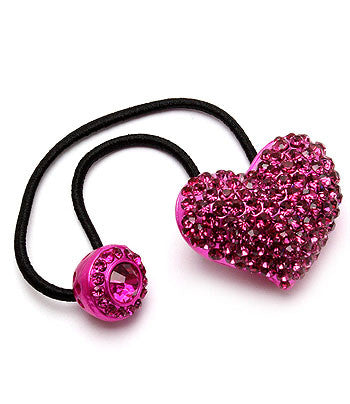 Fancy Elastic Ponytail band with Crystals (Fuschia) - Arabic Islamic Shopping Store
