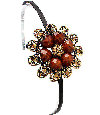 Heart-Flowered Metal cast Hair Band (Brown) - Arabic Islamic Shopping Store