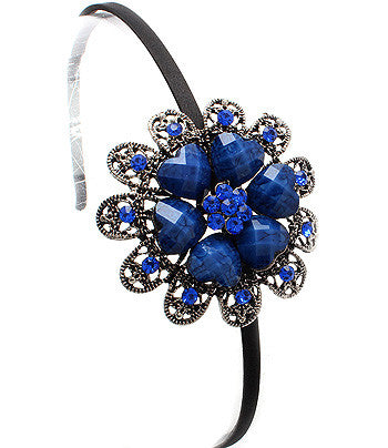 Heart-Flowered Metal cast Hair Band (Blue) - Arabic Islamic Shopping Store